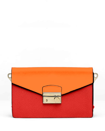 Saffiano Bi-Color Shoulder Bag, Red/Orange