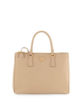 Saffiano Small Double-Zip Executive Tote Bag, Beige (Sabbia)