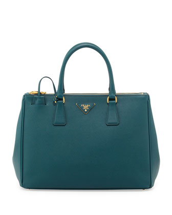 Saffiano Small Double-Zip Executive Tote Bag, Teal (Ottanio)