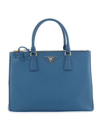 Saffiano Small Double-Zip Executive Tote Bag, Cobalt (Cobalto)