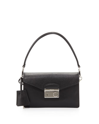 Saffiano Flap-Top Mini Bag, Black (Nero)
