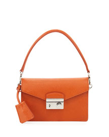 Saffiano Mini Shoulder Bag with Strap, Orange (Papaya)