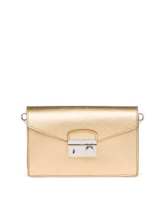Saffiano Metallic Shoulder Bag, Gold (Platino)
