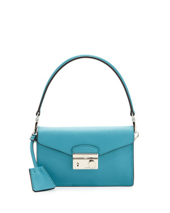 Saffiano Crossbody Mini Bag, Turquoise