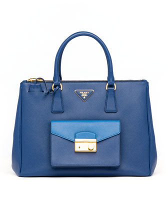 Saffiano Bi-Color Pocket Tote Bag, Blue/Cobalt