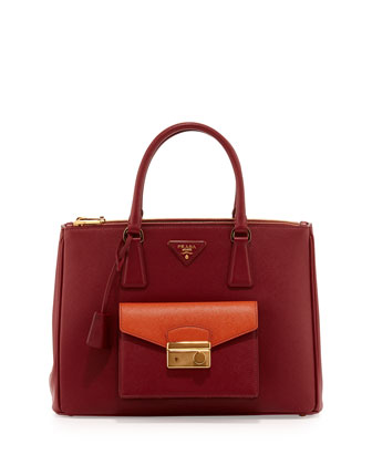 Saffiano Bi-Color Pocket Tote Bag, Red/Orange (Cerise+Papaya)