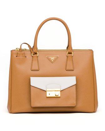 Saffiano Bi-Color Pocket Tote Bag, Caramel/White
