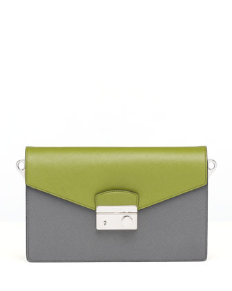 Saffiano Bi-Color Shoulder Bag, Green/Gray (Mercurio+Edera)