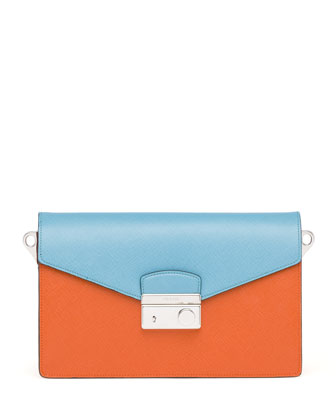 Saffiano Bi-Color Shoulder Bag, Orange/Turquoise