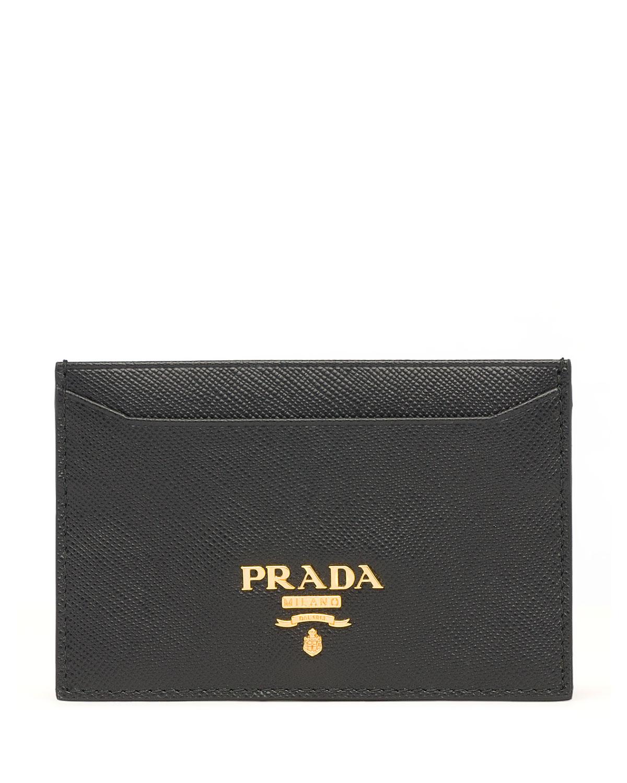 Prada Saffiano Card Holder, Black (Nero)