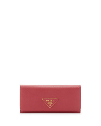 Saffiano Triangle Continental Flap Wallet, Pink (Peonia)
