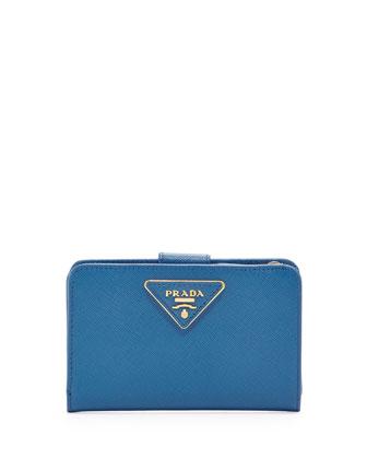 Saffiano Triangle Bi-Fold Tab Wallet, Cobalt (Cobalto)