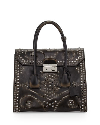 Vitello Vintage Large Embellished Tote Bag, Black