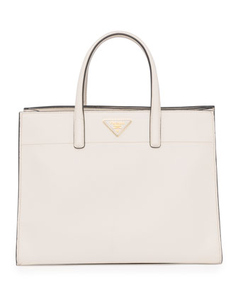 Saffiano Soft Triple-Pocket Tote Bag, White