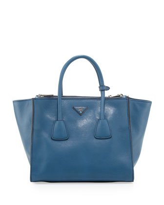 Glace Calf Twin Pocket Tote Bag, Cobalt (Cobalto)