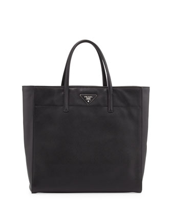 Saffiano Magazine Shoulder Tote Bag, Black (Nero)