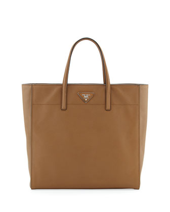 Saffiano Magazine Shoulder Tote Bag, Brown (Caramel)