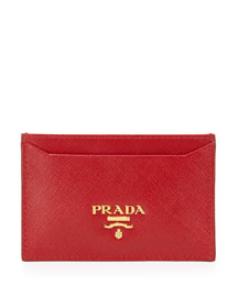 Saffiano Card Holder, Red (Fuoco)