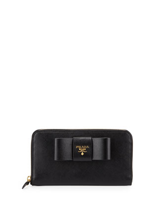 Saffiano Fiocco Zip-Around Bow Wallet, Black (Nero)