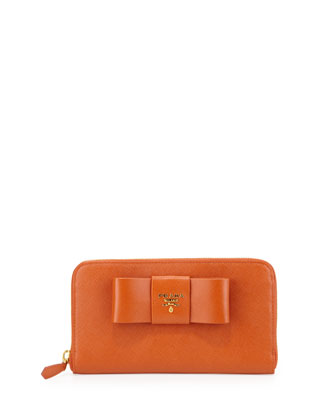 Saffiano Fiocco Zip-Around Bow Wallet, Orange (Papaya)