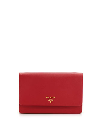 Saffiano Wallet Crossbody Bag, Red (Fuoco)