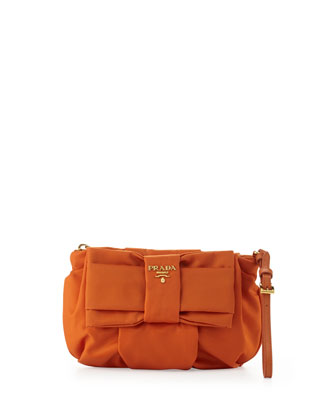 Tessuto Bow Wristlet, Orange (Papaya)
