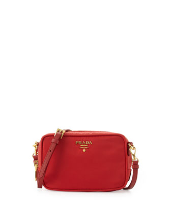 Small Tessuto Zip Crossbody Bag, Red (Rosso)