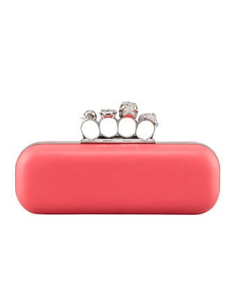 Napa Knuckle-Duster Box Clutch Bag, Pink