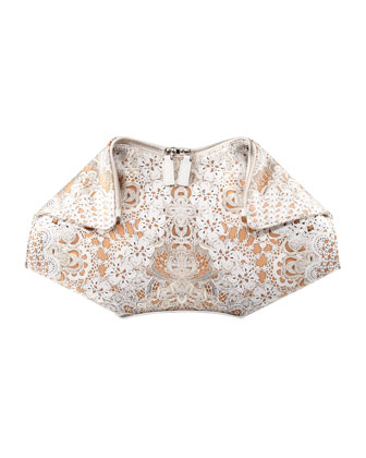 Lace-Print De-Manta Clutch Bag, Cream