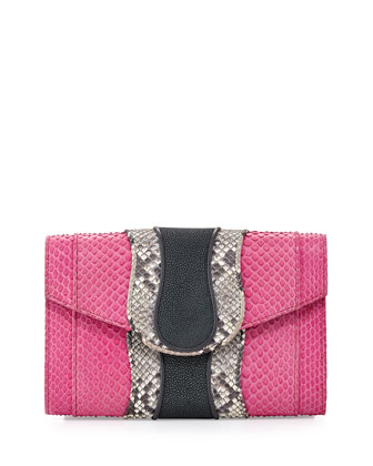 Herzog Python Clutch Bag, Fuchsia/Natural