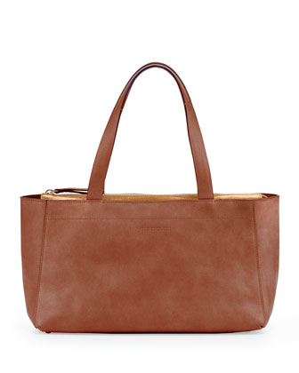 Mini East-West Tote Bag, Rust