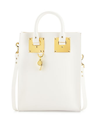 Mini Buckled Leather Tote Bag, White