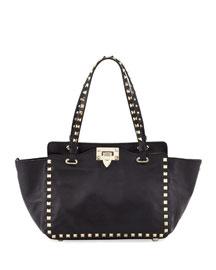 Rockstud Mini Tote Bag, Black