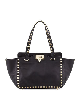 Rockstud Mini Tote Bag, Black