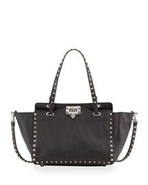 Noir Rockstud Mini Tote Bag, Black