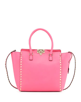 Rockstud Medium Shopper Tote Bag, Hot Pink