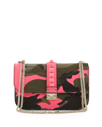 Glam Lock Rockstud Camo Medium Flap Bag, Pink