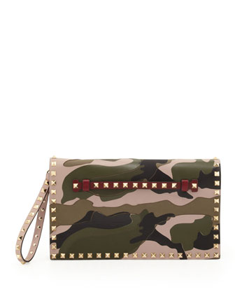 Rockstud Camouflage Clutch Bag, Multi