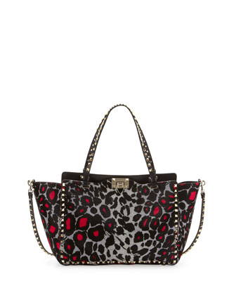 Rockstud Medium Leopard-Print Tote Bag