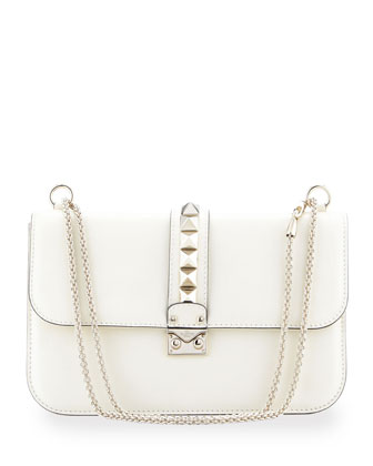 Rockstud-Trim Lock Flap Bag, Ivory