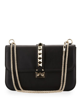 Glam Lock Rockstud-Trim Flap Bag, Black