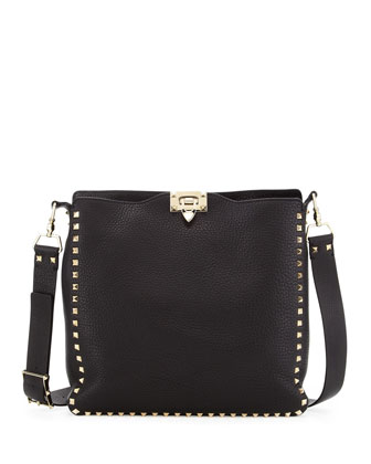 Rockstud Flip-Lock Messenger Bag, Black