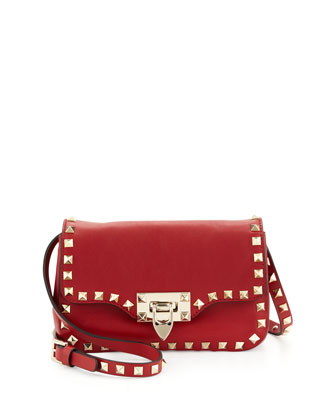 Studded Mini Crossbody Bag, Red