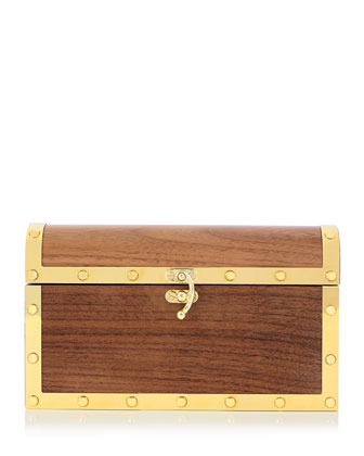 Treasure Chest Clutch Bag, Brown