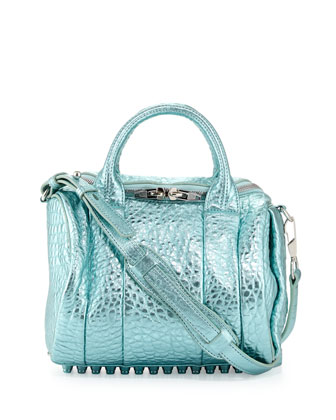 Rockie Dumbo Small Crossbody Satchel Bag, Green Metallic