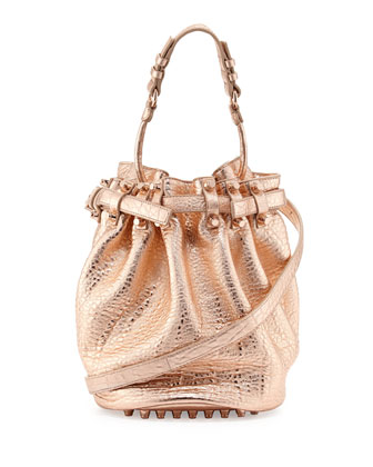 Diego Dumbo Metallic Bucket Bag, Rose Gold