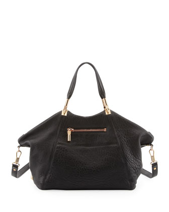Cynnie Leather Satchel Bag, Black