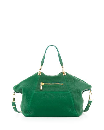 Cynnie Leather Satchel Bag, Green