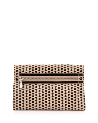 Cynie Polka Dot Convertible Clutch Bag, Champagne