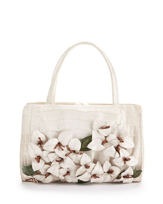 Large Floral-Applique Crocodile Satchel Bag, White